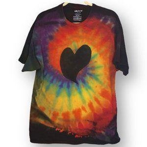 Hand tie dye reverse dye heart rainbow unisex xL
